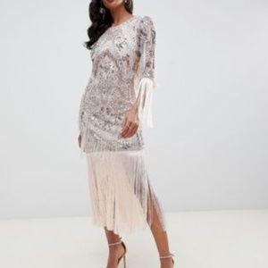 nwt ASOS HEAVVVVY fringe embellished midi dress 6